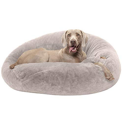 FurHaven Pet Dog Bed | Round Plush Ball Pet Bed for Dogs & Cats, Shell (Tan), Large