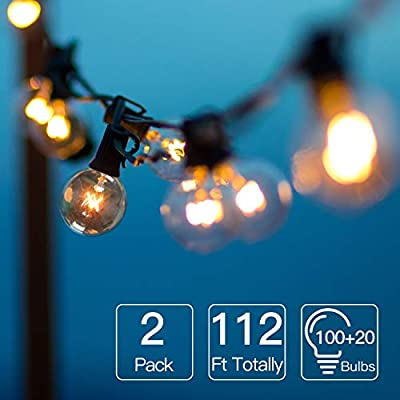 2 Pack Globe String Lights 112 Ft Totally, 100 G40 Bulbs String Lights Connectable Plug in, Indoor/Outdoor Hanging Edison Bulbs for Garden, Patio, Wedding, Party, Christmas (with 20 Extra Bulbs)
