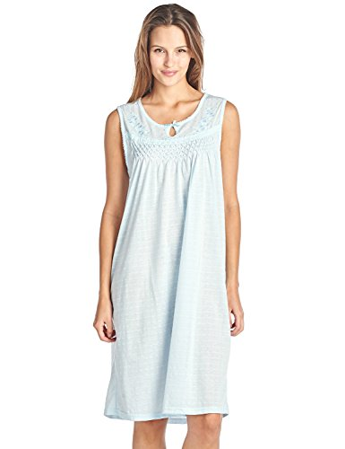 Casual Nights Women's Sleeveless Embroidered Pointelle Nightgown Sleep Dress - Blue - - Embroidered Chemise Womens