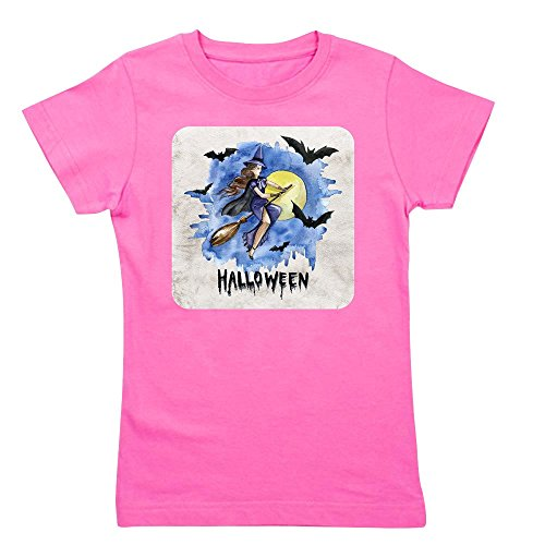 (Royal Lion Girl's Tee T-Shirt (Dark) Halloween Witch Riding Broom Bats - Raspberry, Large)