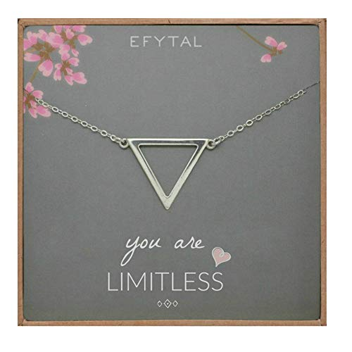 (EFYTAL Inspirational Gifts for Women, Sterling Silver Triangle Necklace, Graduation Jewelry Gift for New)