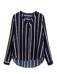 Floerns - Blusa de Gasa para Mujer, Cuello en V, Manga Larga, diseño de Rayas