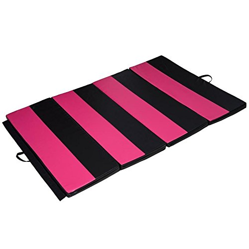 Gymnastics Tumbling Martial Arts Folding Mat 4' x 6' x 2'' Exercise Yoga Pink/Black With Ebook by MRT SUPPLY