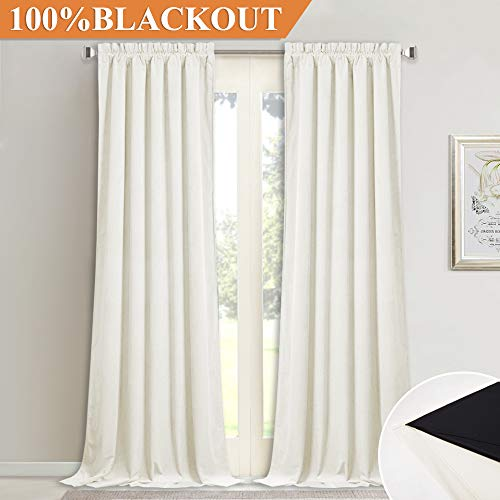 StangH Ivory Velvet Lined Curtains - 100% Blackout Thermal Insulated Plush Velvet Drapes with Black Liner for Parlor/Infant Room, W52 x L84, 2 Panels - Ivory Lined Curtains