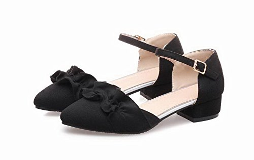 Closed Low Women's Frosted WeenFashion Heels Toe Sandals Black Solid Buckle Fqt6Cwx7