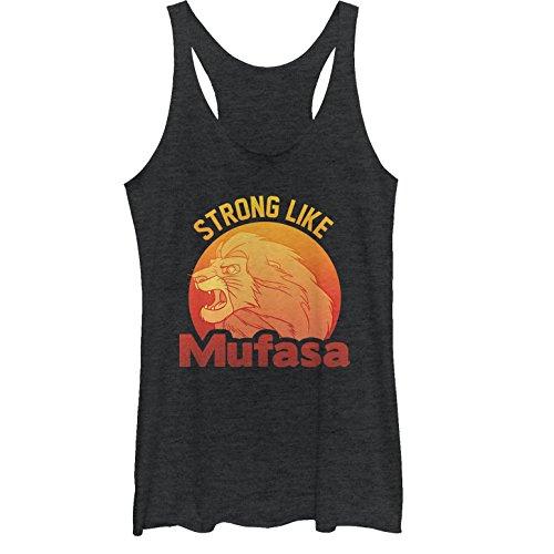 Lion King Women's Strong Like Mufasa Black Heather Racerback Tank Top