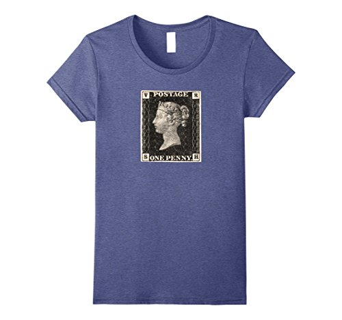 Womens Penny Black Famous Stamp T-Shirt Collectors Shirt XL Heather Blue (Postage Adhesive)