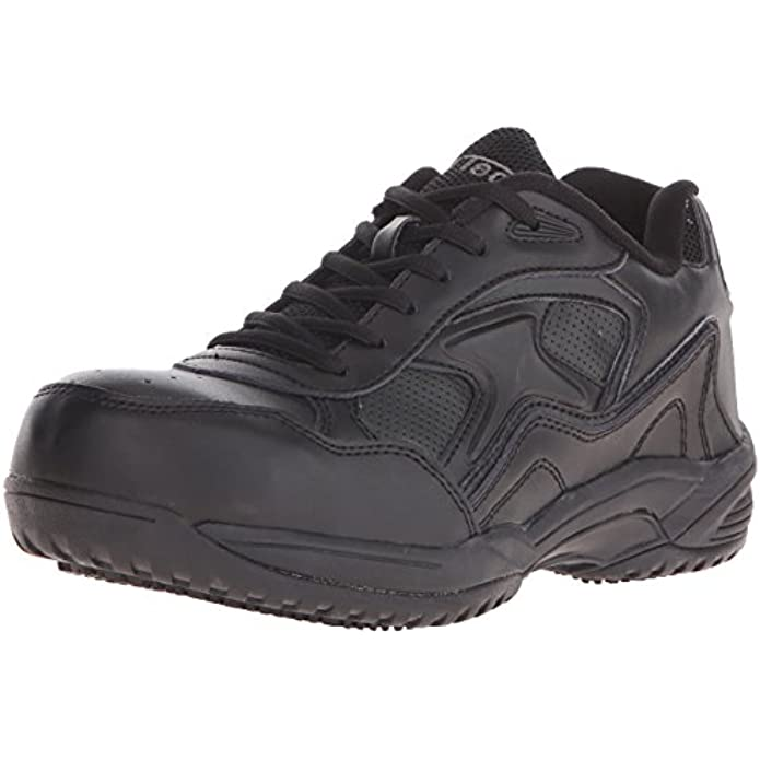 Ad Tec Men's Uniform Athletic Lightweight Lace Up Leather Work Shoes, Black - Composite Safety Toe, Slip Resistant, Breathable and Comfortable