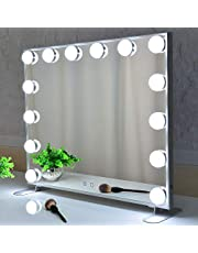 Vanity Makeup Mirror With LED Lights,Touch Control Large Cosmetic Vanity Mirror With Dimmer LED Bulbs,Aluminum Frame Tabletop/Wall Mounted Vanity
