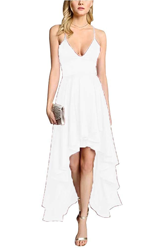 White ZLQQ Women's Spaghetti Strap Prom Dresses HiLo VNeck Bridesmaid Dress Short Formal Evening Gown