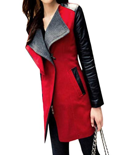 Long Turn Women Autumn Stylish Coat Trench Mid Howme Red Collar Pea Down YEwaAFq