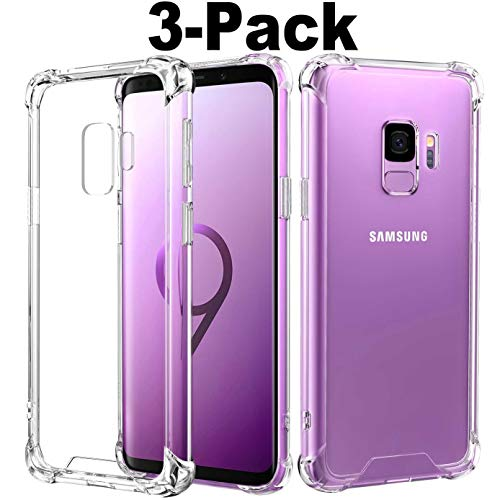 3-Pack Compatible with Galaxy S9 Case,5.8 inch Phone Clear Design Ultra Slim Thin Crystal TPU,Soft Skin Silicone Rubber Protective Phone Protectors Bumper Cover for Girls Man - Louis Vuitton Purple