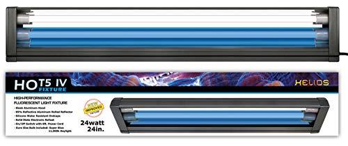 (Helios HO T5 Dual Aquarium Light Fixture & 2X HO T5 Lamps 6500K Day Freshwater Plants (24