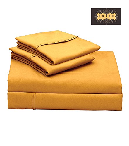 300 Thread Count 100% Cotton Sheet Set, Soft Sateen Weave,King Sheets, Deep Pockets,Home & Hotel Collection,Luxury Bedding-Bestseller- Super Sale 100% Cotton, Gold by ESSEU