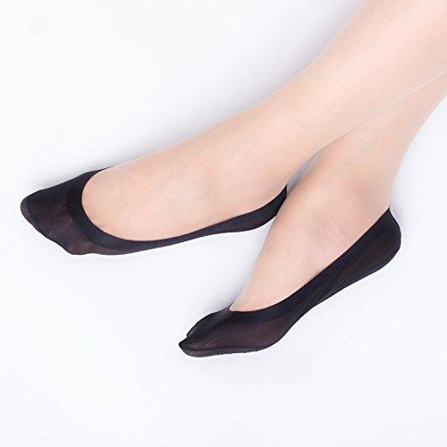 Nylon Liner - 4 Pairs Women's No Show Liner Non Slip Nylon Hidden Socks (4Black)