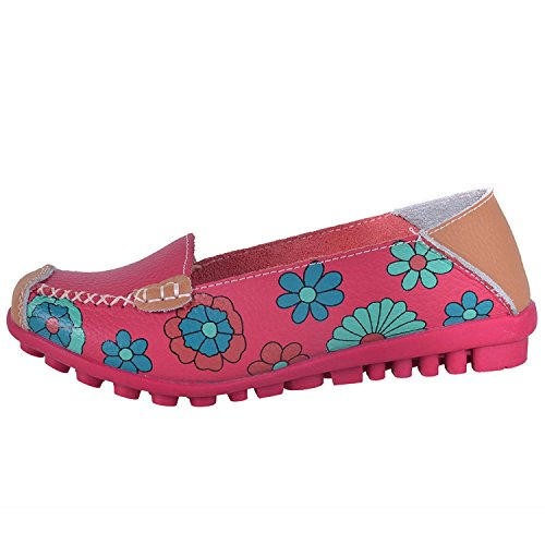 Susanny Slip På Mokasiner Womens Floral Print Hul Ut Kjøre Loafers Skinn Flat Pumper Sko Røde