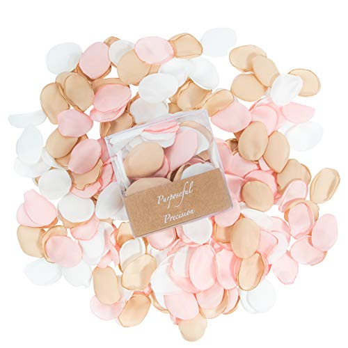 Silk Rose Petals 400pcs For Romantic Night, Silk Rose Gold Themed Artificial Petals For Valentines, Wedding, Flower Girl, Bridal Party, Aisle, Table Confetti, Centerpieces, Romantic, Engagement