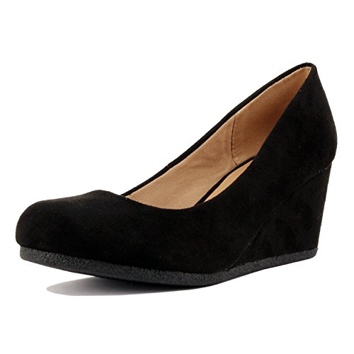 Guilty Shoes Classic Office Wedge - Comfort Soft Low Heel - Round Toe Pumps Shoes, Black Suede, 7 (Womens Shoes Black Heels Wedge)