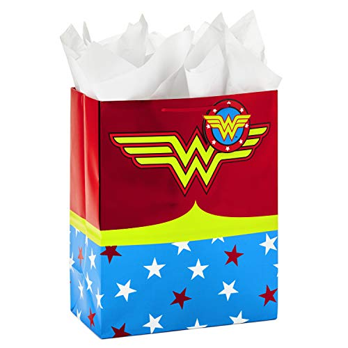 Hallmark Large Wonder Woman Gift Bag with Tissue Paper for Birthdays, Graduations, Mother's Day or Any Occasion