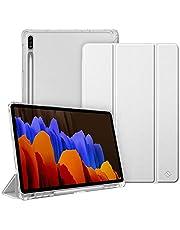 Fintie Etui do Samsung Galaxy Tab S7 Plus 12,4 cala - Slim etui ochronne z uchwytem na długopis, przezroczysta tylna strona, automatyczne uśpienienie/wybudzanie do tabletu S7+ SM-T970/975, srebrne