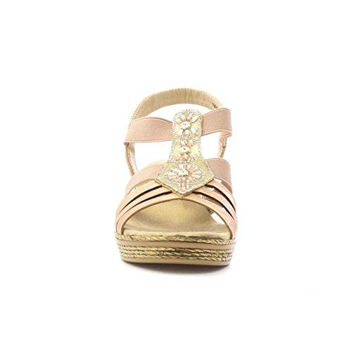 Nude Pink für im Keil Komfort T Sandale Stab durch Softlites Softlites Frauen PqYOB0