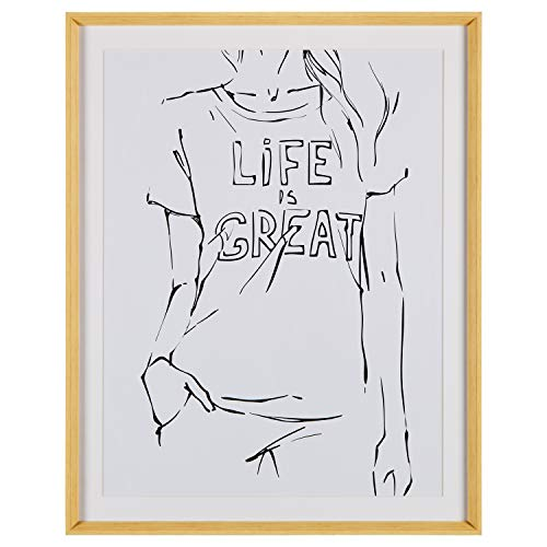 (Rivet Modern Sketch of Woman with T-Shirt on White Background Framed Wall Art Home Décor - 39.42 x 31.42 x 2.27 Inch, Maple)
