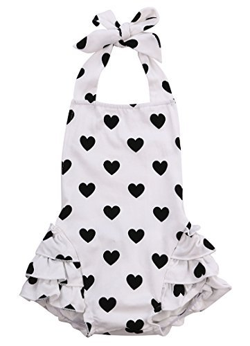 Halter Onesie (Baby Girls Kid Halter Lace Romper Backless Sunsuit Love Heart Jumpsuit Dress (6-12 months))