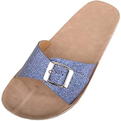 ABSOLUTE FOOTWEAR Womens Casual Glitter Slip On Mule Summer/Holiday Sandals/Shoes - Blue - US 5