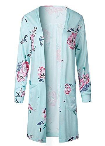 Minetom Mujeres Verano Cárdigan Moda Manga Larga Casual Suelto Impreso Floral Kimono Cardigan Tops Cubrir la Blusa Verde