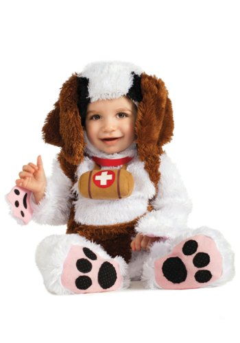[HalloCostume Adorable Baby St. Bernard Plush Costume Romper with headpiece] (St Bernard Baby Costumes)