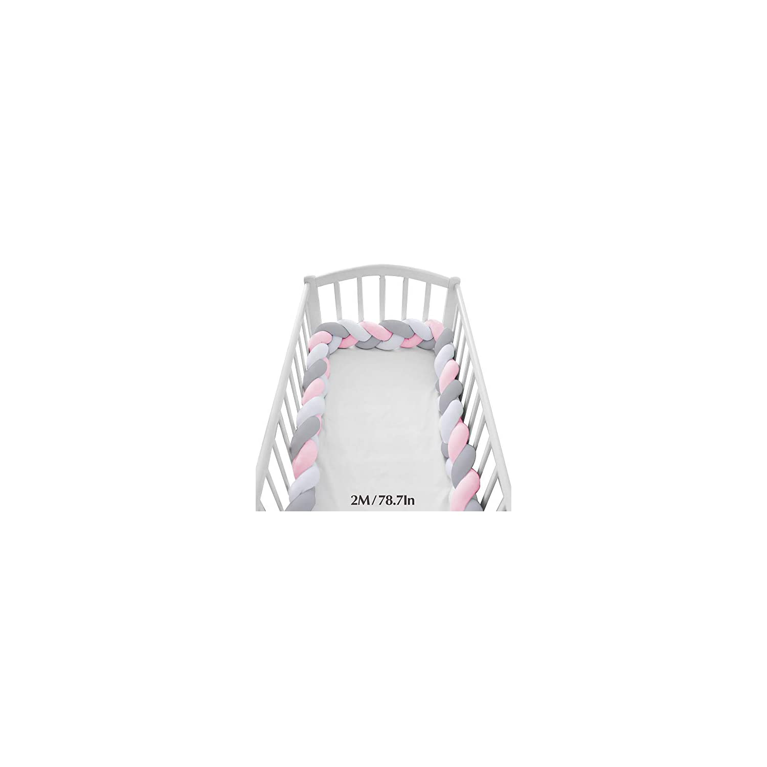 Wonder Space Soft Knot Plush Pillow – Baby Crib Bumper, Fashion Nursery Cradle Decor for Baby Toddler and Childern (Pink/Grey/White, 78.7IN / 2M)