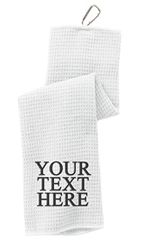 Personalized Custom Golf Towel - Add Your Embroidered Name or Monogram - Trifold Golf Towels with Center Loop and Carabiner Clip, Hook