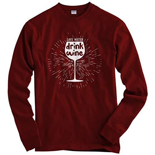 (Smash Transit Men's Save Water Drink Wine Long Sleeve T-Shirt - Maroon, X-Large)