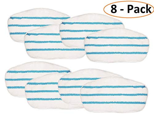 Flintar MP-P101-8 Premium Microfiber Pads Compatible with PurSteam PureSteam ThermaPro 10-in-1 Steam Mop Cleaner Replacement Steam Mop Pads Refills (8 - Pack)