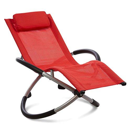 Blumfeldt Chilly Willy Kinderschaukelstuhl Liegestuhl Relax-Schaukelstuhl (Kunststoffgewebe, abwischbar, almungsaktiv) rot