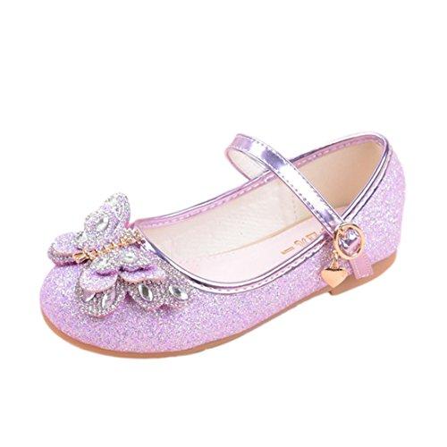 HBOS Kinder Maedchen Prinzessin Schuhe Schmetterling Erbsen Schuhe Tanzschuhe Lila 2