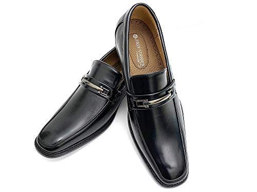 Easy Strider Men's Slip-On Designer Dress Shoes | Leather Lined Comfort | Elegant Designer Look | Perfect Wedding & Business Dress Shoe | Available in Regular & Big & Tall Sizes (8, Buckle Black)