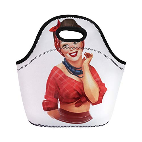 Semtomn Lunch Tote Bag Retro Pin Up Woman Red Cheeks Black Hair Reusable Neoprene Insulated Thermal Outdoor Picnic Lunchbox for Men Women ()