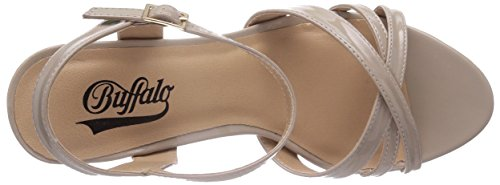 Buffalo 312703 PATENT PU - Sandalias de vestir de material sintético para mujer beige - Beige (BEIGE 01)