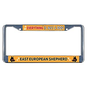 Sign Destination Metal Insert License Plate Frame East European Shepherd Dog Everything Else Weatherproof Car Accessories Chrome 2 Holes Solid Insert Set of 2 37