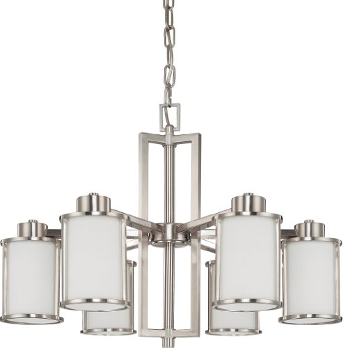 Nuvo Lighting 60/3806 Odeon 6-Light Chandelier with Convertible Arms Up or Down and White Satin Glass, Brushed (Energy Star Convertible Ceiling Light)