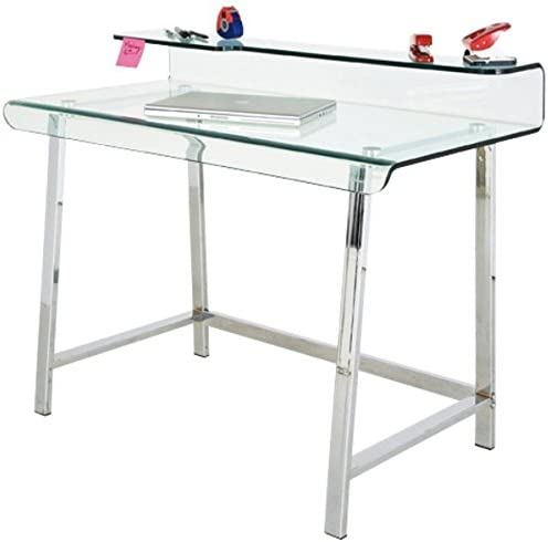 sdm Mesa Escritorio Acero Inoxidable y Cristal 115 x 56 cm: Amazon ...