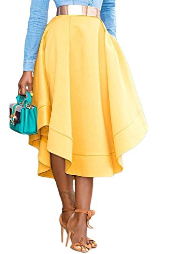 VIGVOG Women's Ethnic Plus-Size African Print Pull-On Pleated Midi A-Line Skirt (XL, Yellow) (Blazer Skirt)