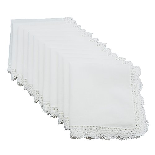SARO LIFESTYLE Lacey Collection Crochet Lace Trimmed Cotton Handkerchief, 13