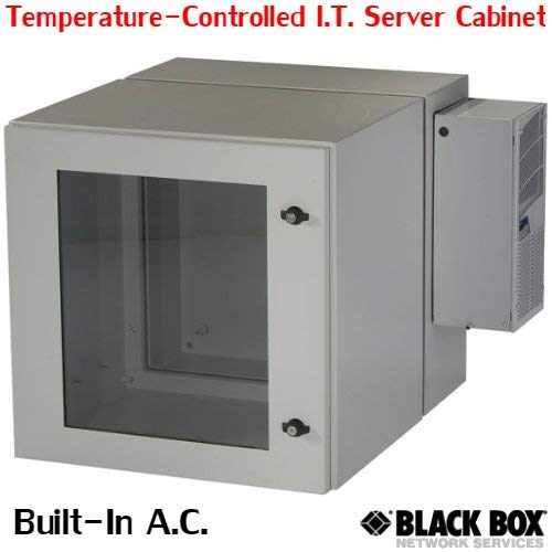 Black Box RMW5110ACG-R2 ClimateCab NEMA 12 Network Server Wallmount Cabinet with 800 BTU Air-Conditioner, Double-Hinged with Gland Plates (Beige)