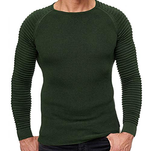 (Men's Muscle fit Long Sleeve Ribbed Tops Pull Over Casual Sweater (M, Army Green) Athlete Build-Muscle Easy Guys Home wear just Middle no-Print Pumping Teens Urban Young hunk Hottie)