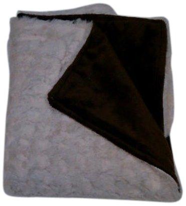Baby Doll Bedding Sheepskin Mini Blanket, Ecru/Chocolate by BabyDoll Bedding   B009XOZ26Q