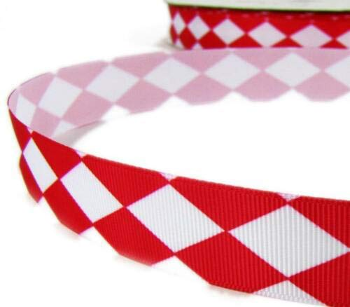 5 Yds Valentine Red White Diamond Checked Argyle Grosgrain Ribbon 7/8