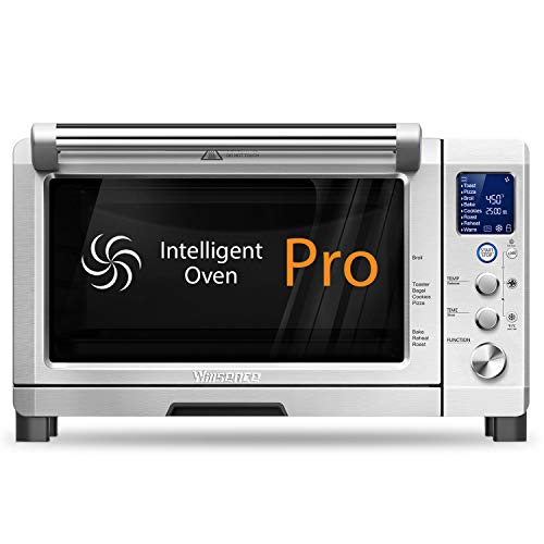 Convection Oven, Willsence 6 Slices Toaster Oven, Stainless Steel Intelligent Convection Oven Countertop with LCD Display and Interior Light, 1800W, 1 Cubit Ft (6-Slice)