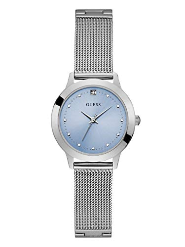 GUESS  Stainless Steel Mesh Bracelet Watch with Sky Blue Genuine Diamond Dial. Color: Silver-Tone (Model: ()
